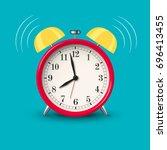 ringing alarm clock red in... | Shutterstock .eps vector #696413455