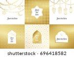 eid al adha mubarak greeting... | Shutterstock .eps vector #696418582