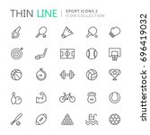 collection of sport thin line... | Shutterstock .eps vector #696419032