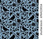 dark floral seamless pattern... | Shutterstock . vector #696423016