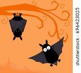 cute bats happy halloween card... | Shutterstock .eps vector #696423025