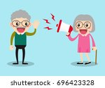 hearing problem.old man hard to ... | Shutterstock .eps vector #696423328