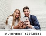 business people happy after... | Shutterstock . vector #696425866