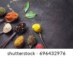 beautiful colored spices in a... | Shutterstock . vector #696432976