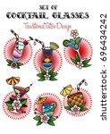 vector set of cocktail glasses... | Shutterstock .eps vector #696434242