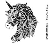 drawing unicorn zentangle style ... | Shutterstock .eps vector #696435112