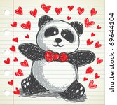 panda wearing red tie doodle ... | Shutterstock .eps vector #69644104