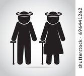 dizziness with elderly symbol.... | Shutterstock .eps vector #696441262