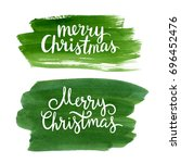 merry christmas lettering on... | Shutterstock . vector #696452476