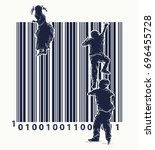 bar code tattoo. children climb ... | Shutterstock .eps vector #696455728