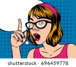 a girl with short hair in... | Shutterstock .eps vector #696459778