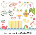 summer tropical elements | Shutterstock .eps vector #696462766