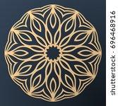laser cutting mandala. golden... | Shutterstock .eps vector #696468916