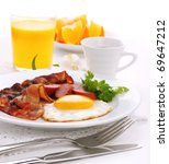 breakfast with bacon  fried egg ... | Shutterstock . vector #69647212