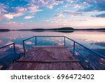 perspective view of a wooden... | Shutterstock . vector #696472402