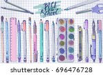 hand drawn doodle student... | Shutterstock .eps vector #696476728