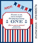 nautical sailor theme printable ... | Shutterstock .eps vector #696480076