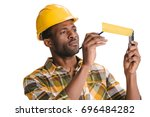 focused african american... | Shutterstock . vector #696484282