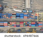 aerial view of cargo ship ... | Shutterstock . vector #696487666