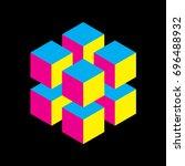 geometric cube of 8 smaller... | Shutterstock .eps vector #696488932