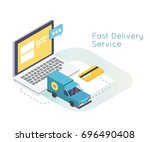 fast delivery services and e... | Shutterstock .eps vector #696490408