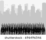 silhouette of a crowd of people ... | Shutterstock .eps vector #696496546