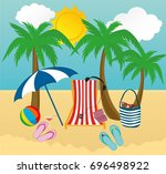 summer beach accessories.vector. | Shutterstock .eps vector #696498922
