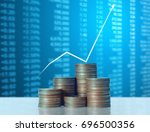 investment concept  coin graph... | Shutterstock . vector #696500356