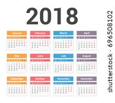 2018 calendar  week starts on... | Shutterstock .eps vector #696508102