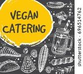 vegan catering card design.... | Shutterstock .eps vector #696514762