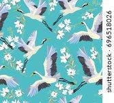 crane  pattern  vector ...   Shutterstock .eps vector #696518026