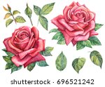 set elements. red roses with... | Shutterstock . vector #696521242