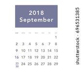 Simple September 2018 Calendar...