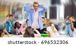 frustrated teacher with naughty ... | Shutterstock . vector #696532306