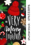 christmas poster lettering a... | Shutterstock . vector #696533896