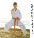 young boy training karate... | Shutterstock . vector #696534385