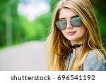 youth style. modern girl... | Shutterstock . vector #696541192