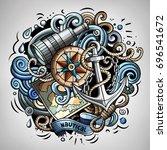nautical 3d cartoon vector... | Shutterstock .eps vector #696541672