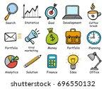 set of hand drawn business... | Shutterstock .eps vector #696550132