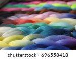 braiding hair extensions... | Shutterstock . vector #696558418