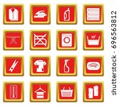 laundry icons set in red color... | Shutterstock .eps vector #696563812