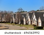 a typical american suburb... | Shutterstock . vector #696563992