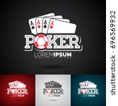 vector poker logo design... | Shutterstock .eps vector #696569932