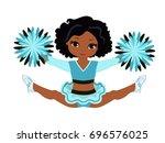 cheerleader in turquoise... | Shutterstock .eps vector #696576025