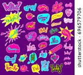set of social network stickers. ... | Shutterstock .eps vector #696579706