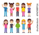 set of cute diverse cartoon... | Shutterstock .eps vector #696588916