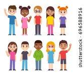 set of cute diverse cartoon... | Shutterstock .eps vector #696588916