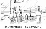 family in the airport going to... | Shutterstock .eps vector #696590242