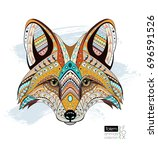 patterned fox head. ethnic...