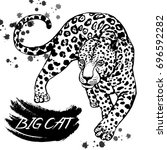 hand drawn sketch style leopard.... | Shutterstock .eps vector #696592282